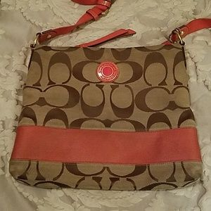 Coach signature brown with melon stripe bag